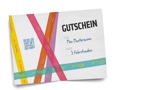 Gutschein-Innenseite, »de Clerk – Fahrschule« in Forchheim und Heroldsbach